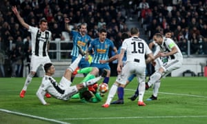 Giorgio Chiellini of Juventus has goal disallowed.