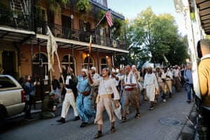 The marchers chanted 'Freedom or death!' on the 26-mile march, which spanned old plantation land, suburban sprawl and New Orleans' historic French Quarter.