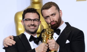 88th Annual Academy Awards - Press Room<br>(L-R) Singer/songwriters Jimmy Napes and Sam Smith, winners for Best Original Song for 'Writing's On The Wall' for 'Spectre,' appear backstage at the 88th Academy Awards, at the Hollywood and Highland Center in the Hollywood section of Los Angeles on February 28, 2016.    PHOTOGRAPH BY UPI / Barcroft Media  UK Office, London. T +44 845 370 2233 W www.barcroftmedia.com  USA Office, New York City. T +1 212 796 2458 W www.barcroftusa.com  Indian Office, Delhi. T +91 11 4053 2429 W www.barcroftindia.com