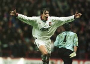 Savo Milosevic celebrates after scoring for Villa against Steaua Bucharest in the Uefa Cup.