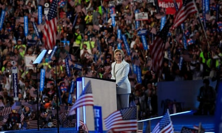 Hillary Clinton accepting the Democratic presidential nomination on Thursday night.