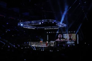 Hughie Fury and Mariusz Wach during their heavyweight bout at the SSE Arena in London.