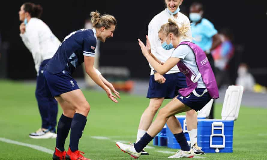 Substitute Leah Williamson celebrates with Ellen White after the striker scored against Chile.