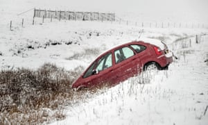 A crashed car on the Woodhead Pass in the Peak District.