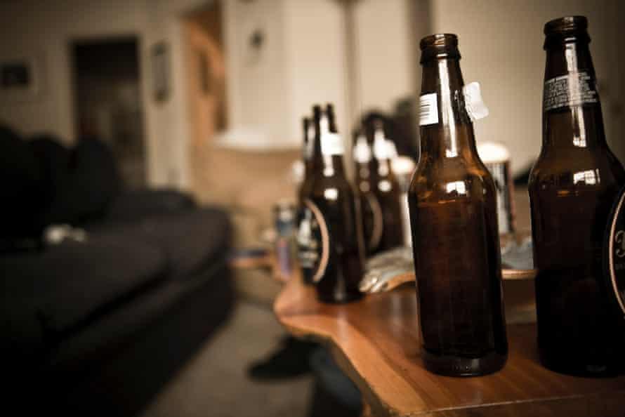Empty glass beer bottles.