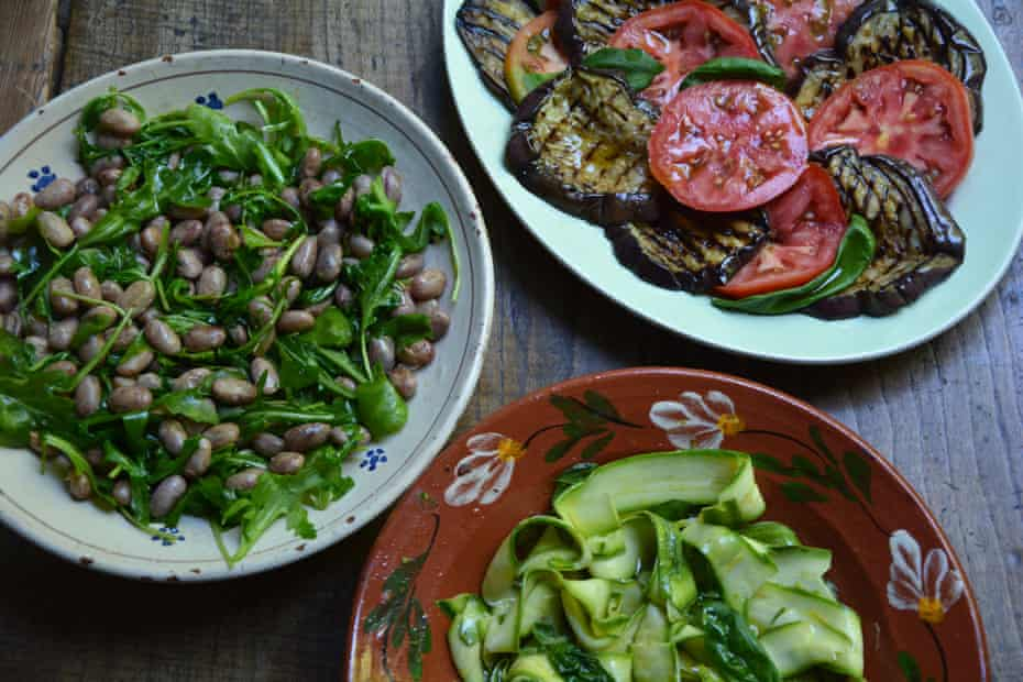Three summer salads perfect for antipasti: grilled aubergine, marinated courgette and borlotti beans with rocket.