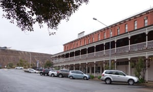 The Palace Hotel (foreground) and a mullock heap (behind) in Broken Hill, NSW, Australia.