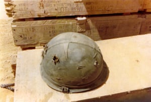 Merle Elliott - Fire Base LZ Stinson in Quang Ngai Province, his helmet with two bullet holes. Served 1970-71