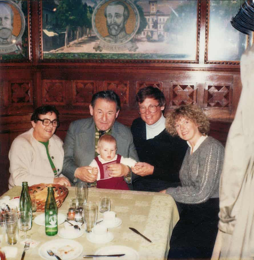 'The bravest person' … Cecilia, left, with husband Ivan, stepson George Kovach, his wife and child, in Budapest in 1984.