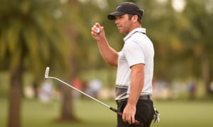 Paul Casey after putting out on the 9th green during the second round of the WGC - Cadillac Championship at Doral in March 2016
