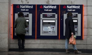A row of NatWest cash machines.