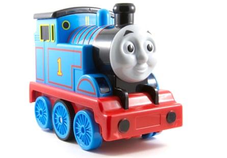 Thomas the Tank Engine children's toy on white background