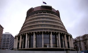 The New Zealand parliament building, known as the Beehive, in central Wellington.