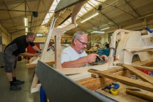 Nigel Hall and Vince Wanklin are Morgan carpenters who build the vehicles' wooden frame from ash