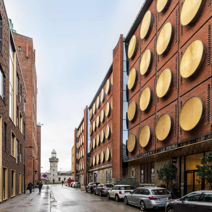 Hotel Ottilia facade, with its 64 golden shileds, Carlsberg City District, Copenhagen, Denmark.