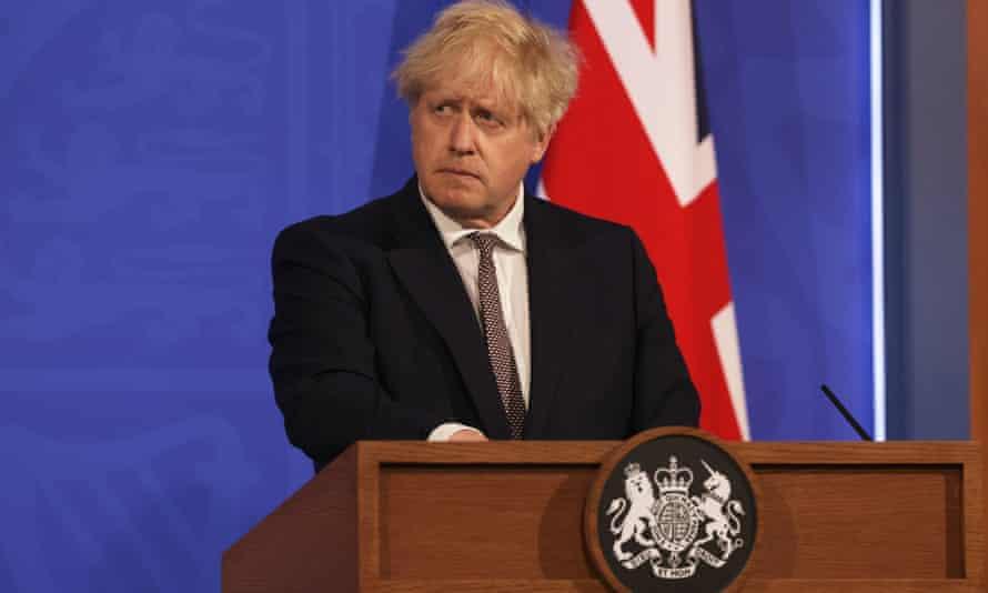 Boris Johnson at a coronavirus briefing on 20 May.