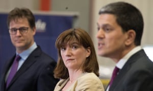 Brexit<br>(left to right) Liberal Democrat former deputy PM Sir Nick Clegg, Tory ex-education secretary Nicky Morgan and Labour former foreign secretary David Miliband speaking at a cross-party intervention Brexit negotiation at Tilda Rice Mill in Rainham, Essex. PRESS ASSOCIATION Photo. Picture date: Monday May 14, 2018. See PA story POLITICS Brexit. Photo credit should read: Stefan Rousseau/PA Wire