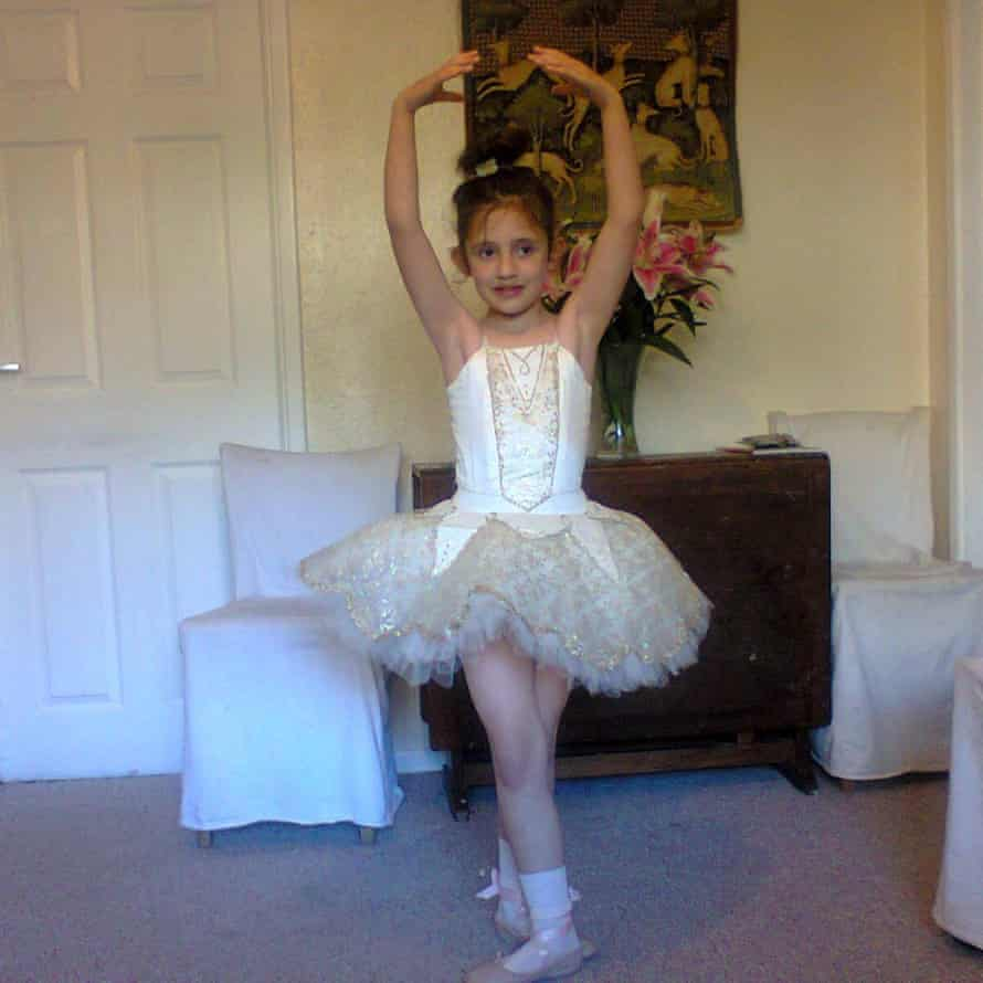 Constance in her ballet outfit as a young girl. She fell in love with dancing when she saw The Nutcracker.