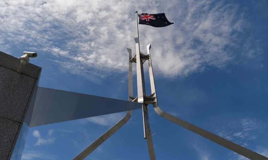 A security camera is seen outside Parliament House in Canberra