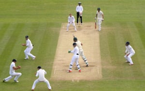 Mitchell Starc is caught, Cook parries it in the air, and Adam Lyth takes the catch on the rebound