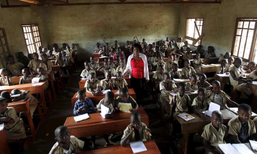A teacher leads a class at a primary school in Burundi's capital, Bujumbura