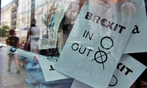"A poster featuring a Brexit vote ballot with ""out"" tagged is on display at a book shop window in Berlin on June 24, 2016.  Britain has voted to break out of the European Union, striking a thunderous blow against the bloc and spreading panic through world markets on June 24 as sterling collapsed to a 31-year low.  / AFP PHOTO / John MACDOUGALLJOHN MACDOUGALL/AFP/Getty Images"