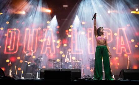 Dua Lipa performs on the John Peel stage at Glastonbury 2017.