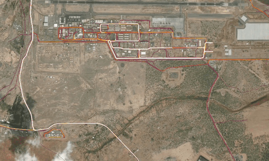 Camp Lemonnier (top right), and a suspected CIA base (bottom left) in Djibouti.
