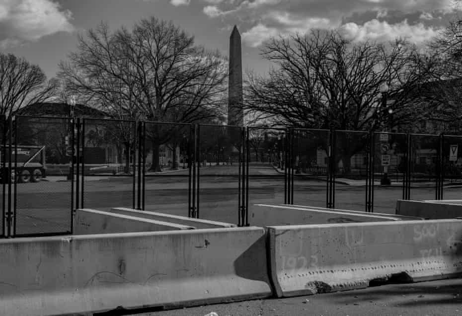 The Washington Monument is seen behind layers of blockades on 19 January.