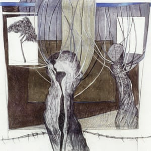 'Pollarded Trees' – Pastel and charcoal on needle etched paper 2004Cecily Sash's styles were initially decorative and representational, but she began to put more emphasis on semi-abstract qualities.
