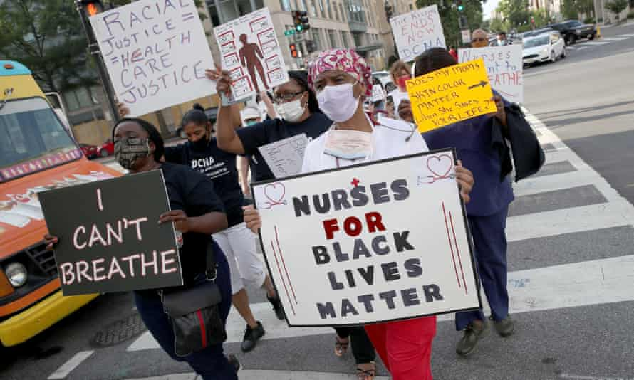 Medical workers from the DC Nurses Association march in support of Black Lives Matter in Washington.