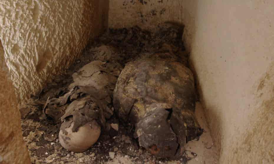 The two mummies found inside a sealed tomb at Taposiris Magna