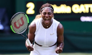 """Away from Wimbledon, Serena wore a catsuit inspired by the Marvel Comics film Black Panther and an Off-White x Nike jacket that had """"Queen,"""" """"Champion,"""" """"Mother,"""" and """"Goddess"""" written in English and French all over it. Some of her boldest looks at Wimbledon have included a trench coat, which she wore to warm up in 2008, as well as what she has worn to play this year: a Nike top with a Swarovski """"Broosh"""", AKA a brooch in the shape of the Nike swoosh that features 34 crystals, the age she was when she last won Wimbledon in 2016."""
