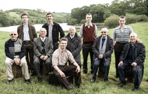 Survivors today, with the actors who play them in The Windermere Children (left to right): Chaim 'Harry' Olmer, Kacper Swietek, Arek Hersh, Tomasz Studzinski, Pascal Fischer, Ben Helfgott, Marek Wroblewski, Sam Laskier, Kuba Sprenger, Ike Alterman