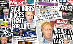 Front pages of the UK papers on Tuesday, 7 April 2020 after prime minister Boris Johnson is hospitalised in an intensive care unit for symptoms of the coronavirus.