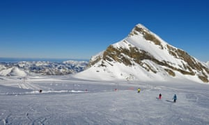 People skiing on the glacier at Diablerets near Villar in Switzerland.