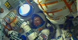 British astronaut Tim Peake pictured on board the shuttle after launching