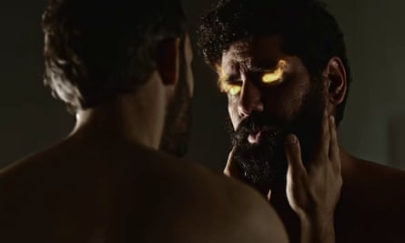Salim (Omid Abtahi) and a Djinni in human form (played by Mousa Kraish) in a scene from episode three of American Gods.