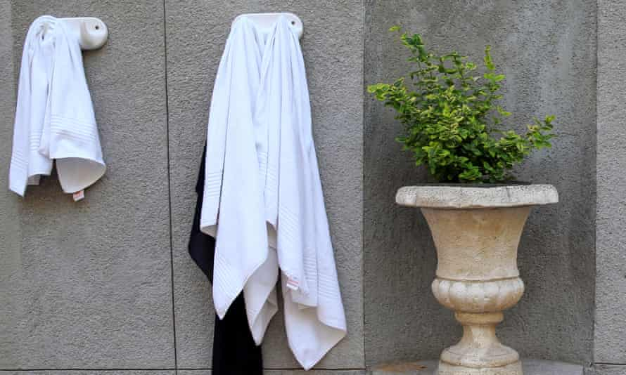 Two towels hanging on ceramic hooks on a marble wall next to a marble urn with a plant in it