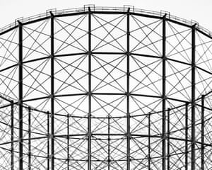A gas holder tower in Greenwich, London by photographer Martin Chivers.