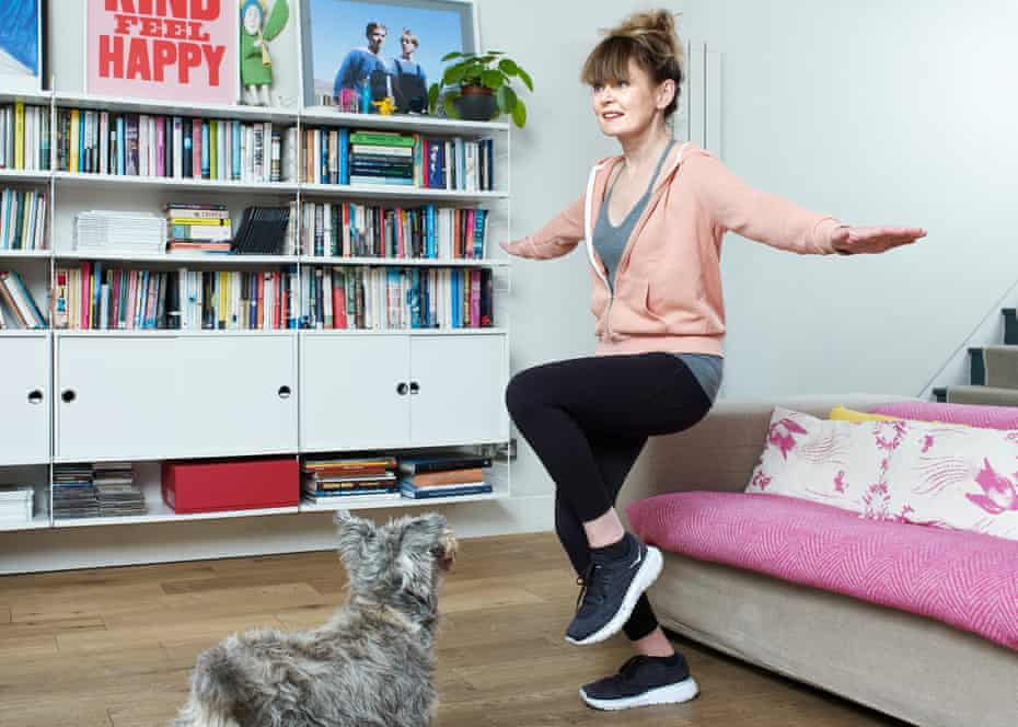 'I wanted to get my default feeling of hopefulness back': Genevieve Fox exercising at home in London.