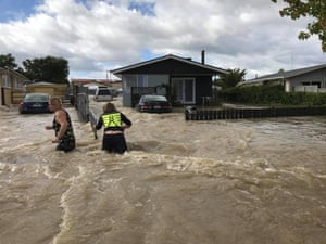 A flooded street in Edgecumbe on Thursday 6 April after ex-cyclone Debbie swept through.