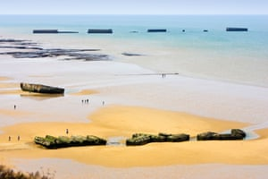 Remains of the D-day Mulberry B harbour on the Normandy coast.