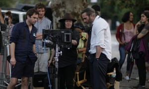 Lynne Ramsay on the set of You Were Never Really Here with Joaquin Phoenix.