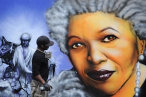 Portrayed by a graffiti artist during the unveiling ceremony of a memorial bench marking the abolition of slavery in Paris