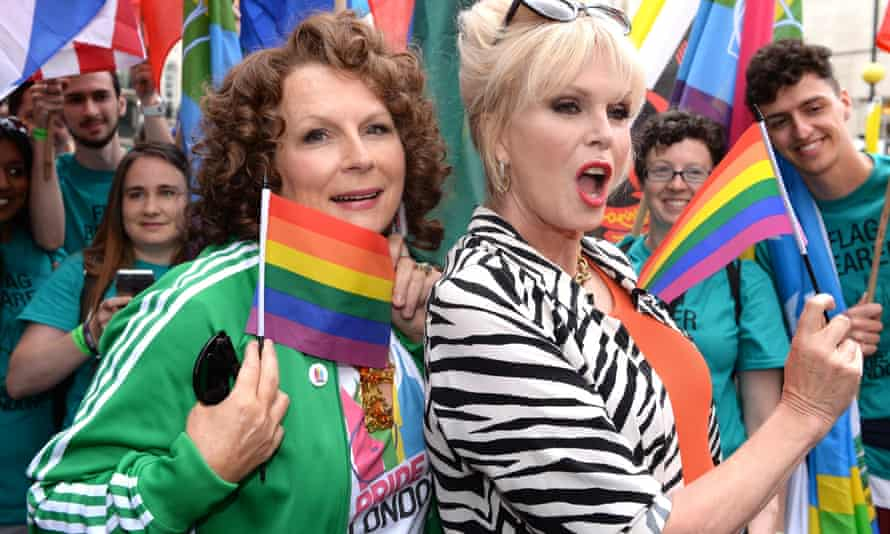 Marching to the top … Jennifer Saunders as Eddie and Joanna Lumley as Patsy attend the Pride parade in London, June 25 2016.