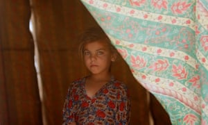 An Iraqi girl at a camp on the outskirts of Falluja