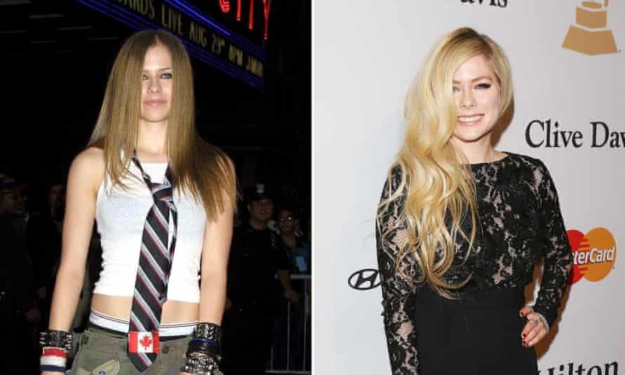 Avril Lavigne in 2002 and in 2016