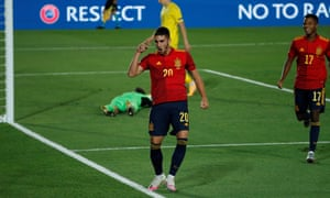 Ferran Torres celebrates after scoring for Spain in the 4-0 win against Ukraine this month.