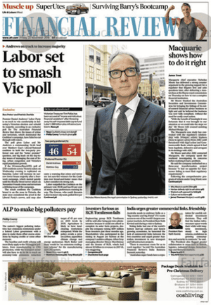 front-page of the Australian Financial Review 23 November 2018